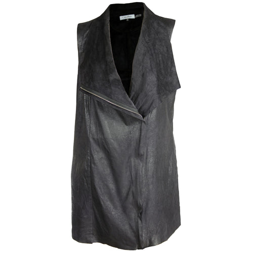 Calvin Klein Black Distressed Faux Suede Vest Plus Size