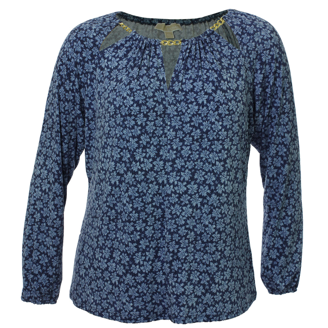 Michael Kors Blue Floral Long Sleeve Chain Trim Cutout Shirt