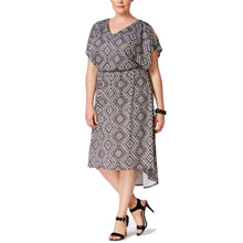 NY Collection Black / White Print Short Sleeve Cold Shoulder High-Low Dress Plus Size