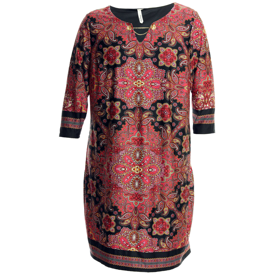 NY Collection Multi Color Print 3/4 Sleeve Chain Cutout Dress