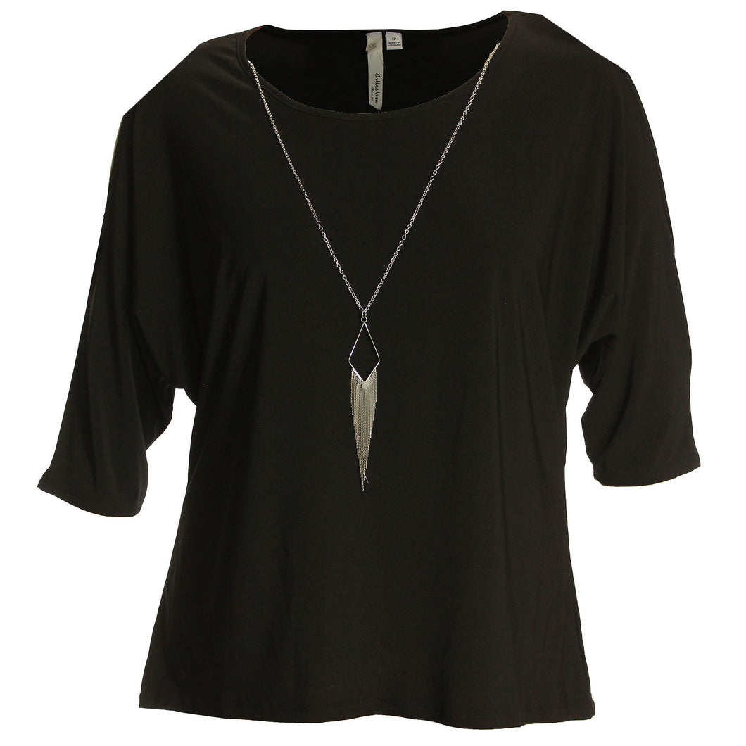 NY Collection Black 3/4 Sleeve Cold Shoulder Necklace Shirt