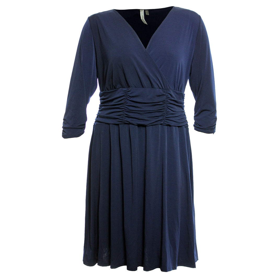NY Collection Navy Blue 3/4 Sleeve Ruched A-Line Dress