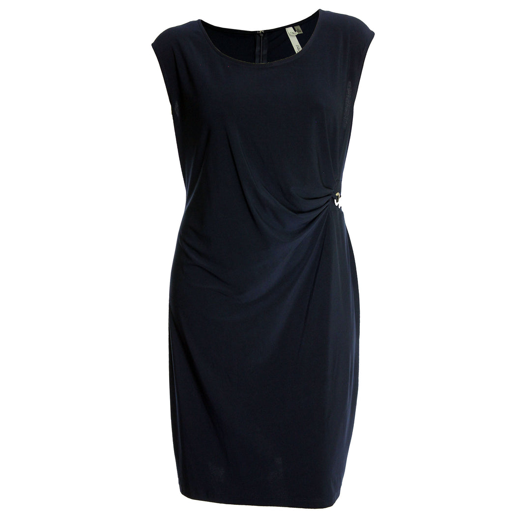 NY Collection Navy Blue Sleeveless Dress with Hardware Detail