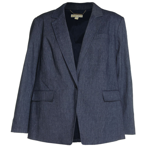 Michael Kors Blue Long Sleeve Linen Blend Blazer Jacket