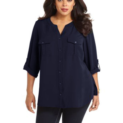 Elementz Blue 3/4 Sleeve Button Down Blouse Plus Size