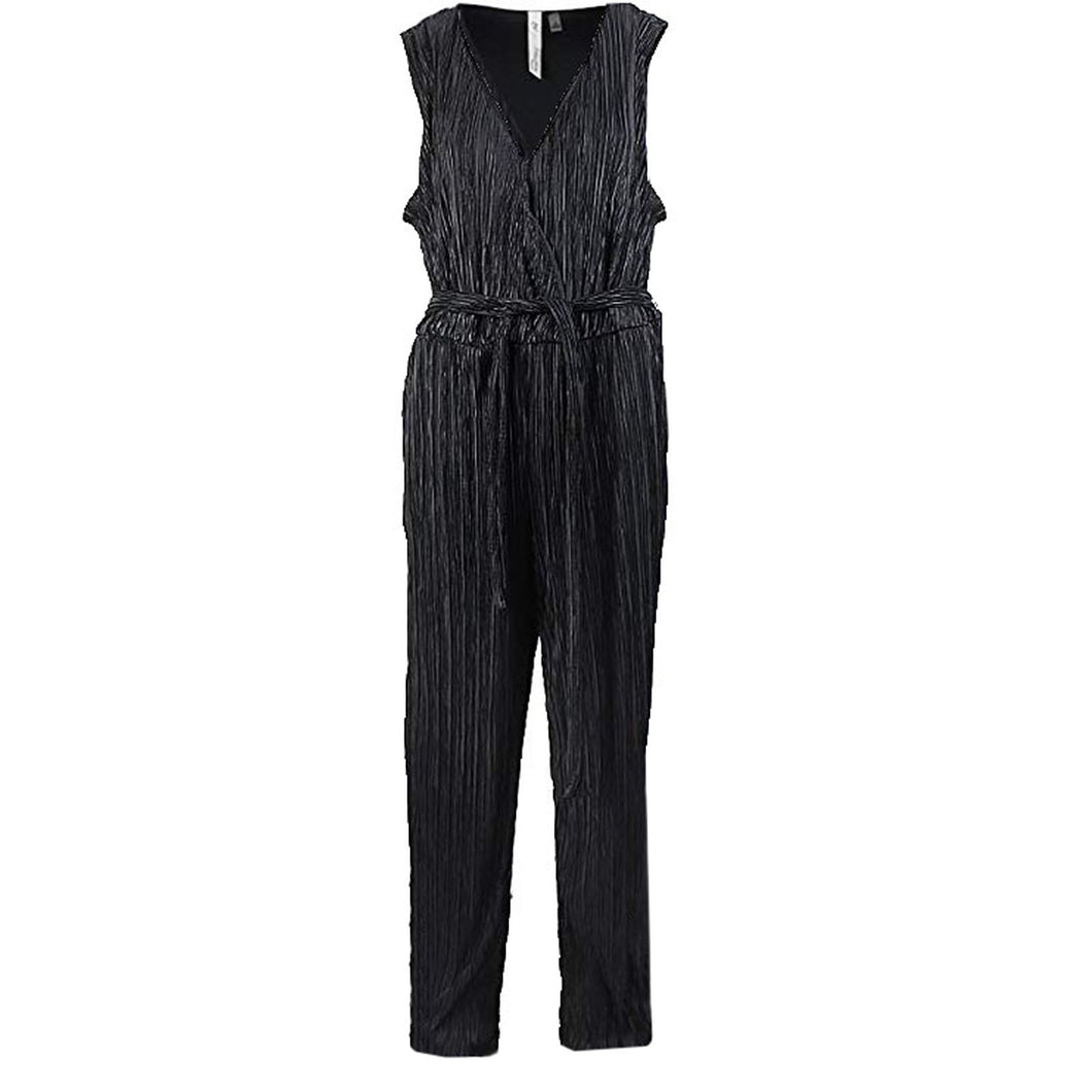 NY Collection Black Sleeveless Surplice Wide Leg Belted Jumpsuit Plus Size