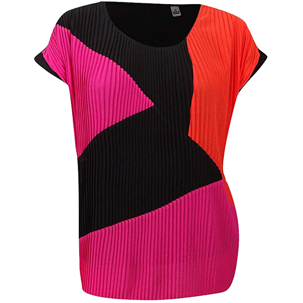 NY Collection Multi Colorblock Short Sleeve Pleat Top