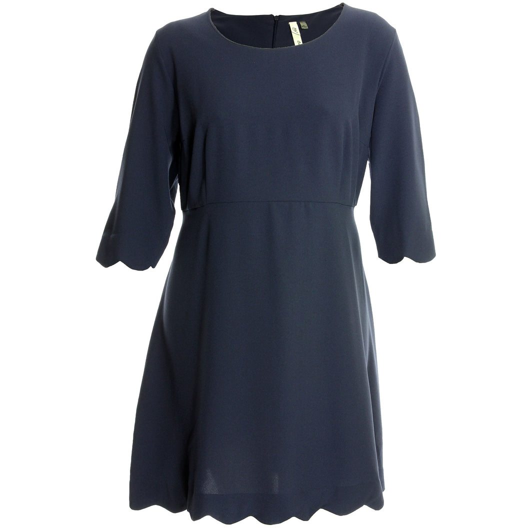 NY Collection Blue 3/4 Sleeve Scallop Edge Dress
