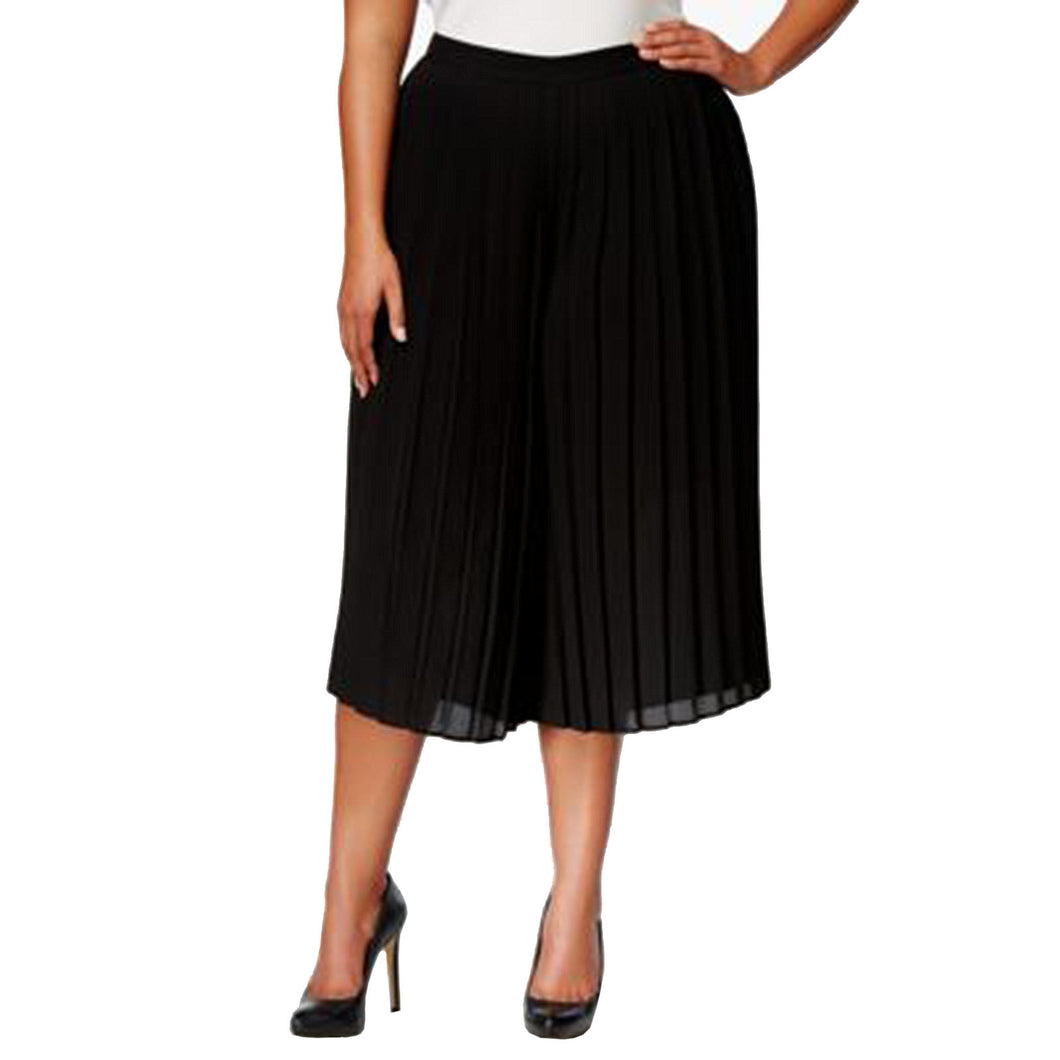 NY Collection Black Pleated Front Gaucho Pants Plus Size