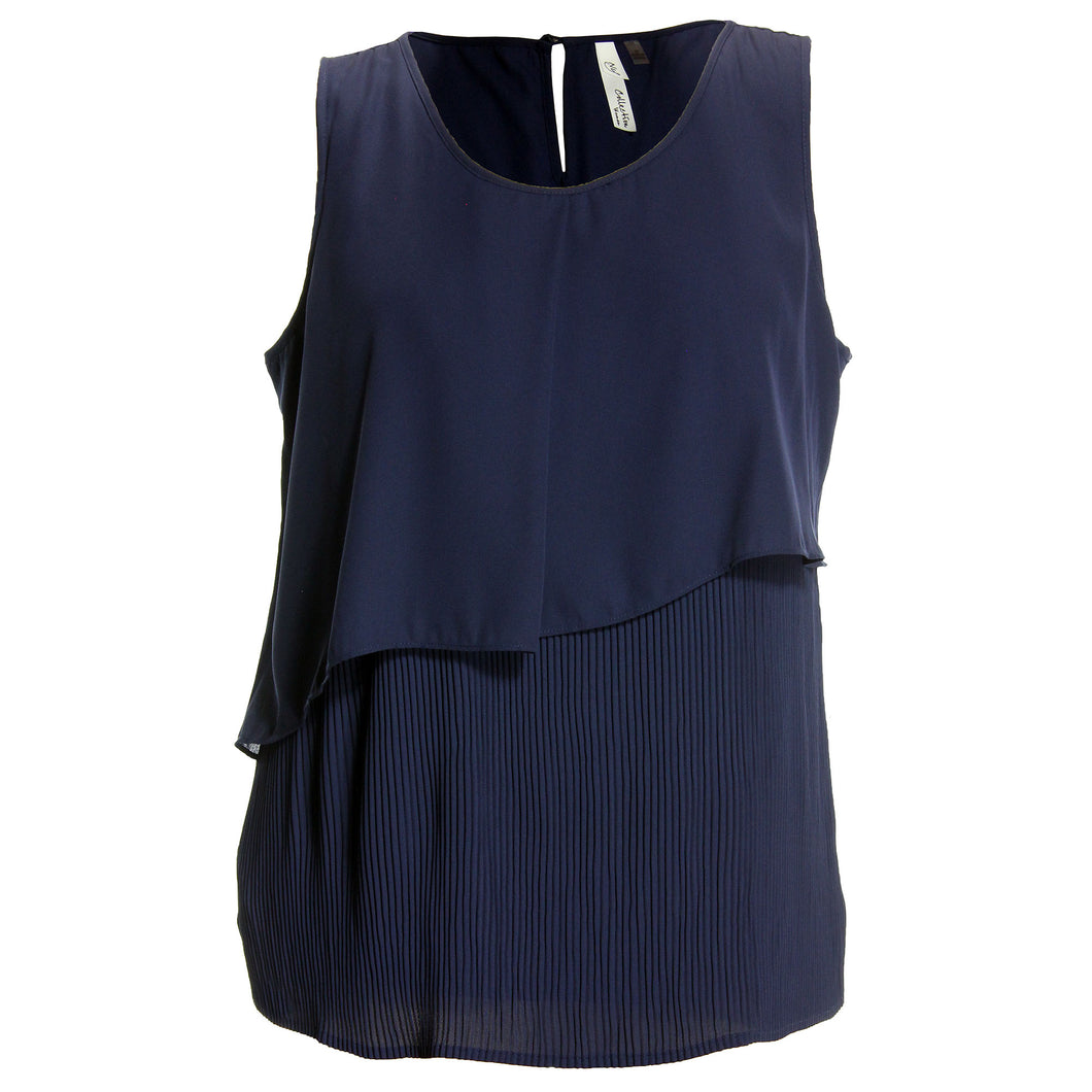 NY Collection Navy Blue Sleeveless Layered Top