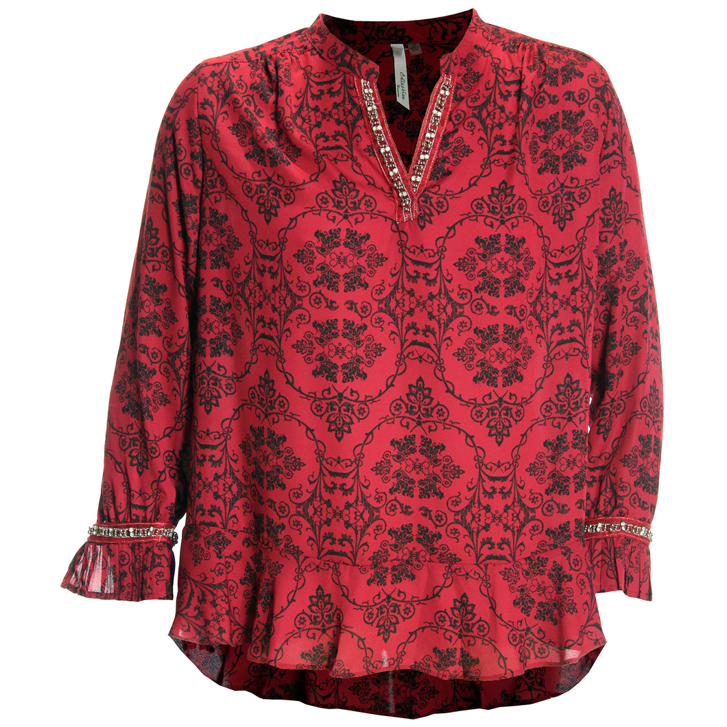 NY Collection Red & Black Print Long Sleeve Embellished Blouse Plus Size