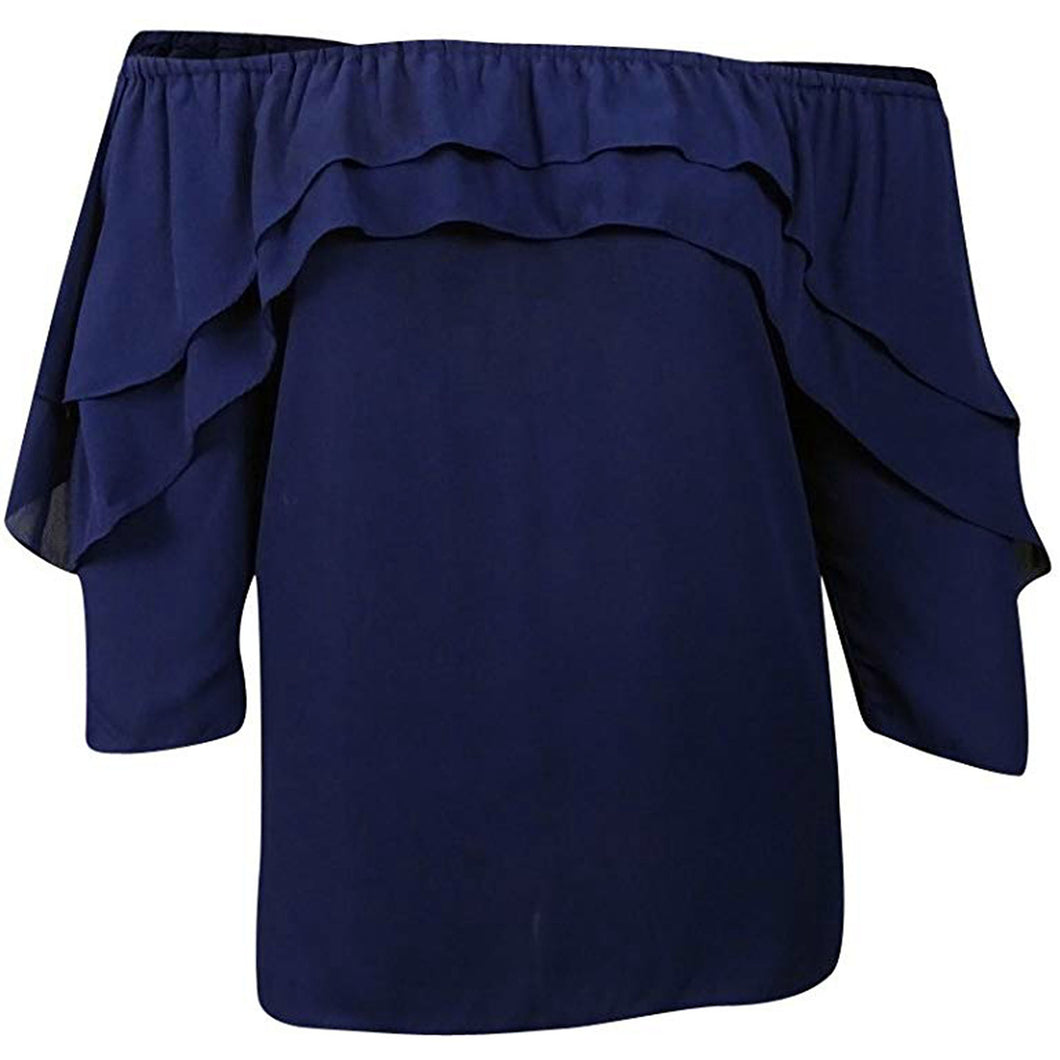 NY Collection Blue 3/4 Sleeve Off-the-Shoulder Ruffled Blouse Plus Size