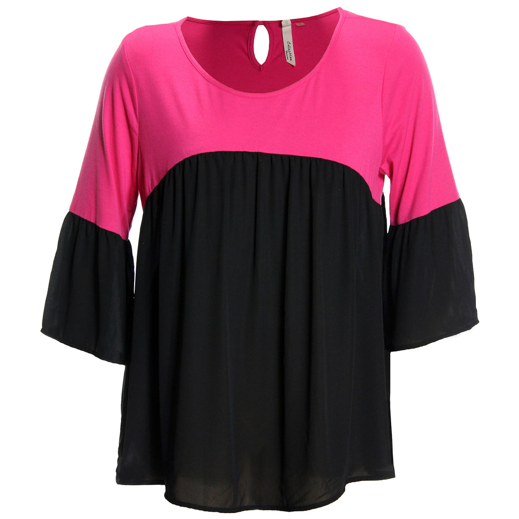 NY Collection Pink/Black Color Block 3/4 Bell Sleeve Blouse