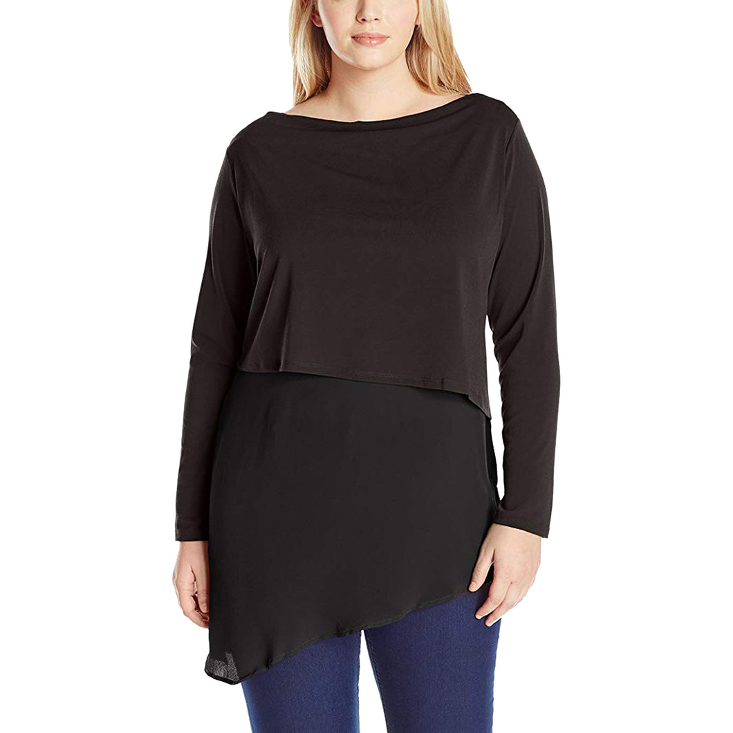 NY Collection Black Long Sleeve Layered Asymmetric Hem Blouse Plus Size