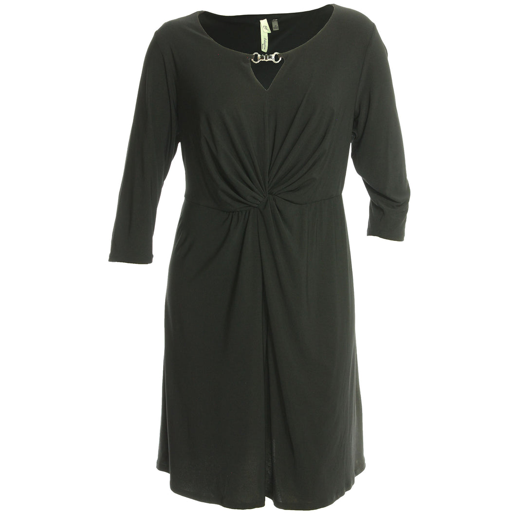 NY Collection Black 3/4 Sleeve Twist Front Keyhole Dress
