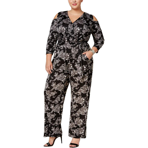 NY Collection Floral Print 3/4 Sleeve Cold Shoulder Jumpsuit Plus Size