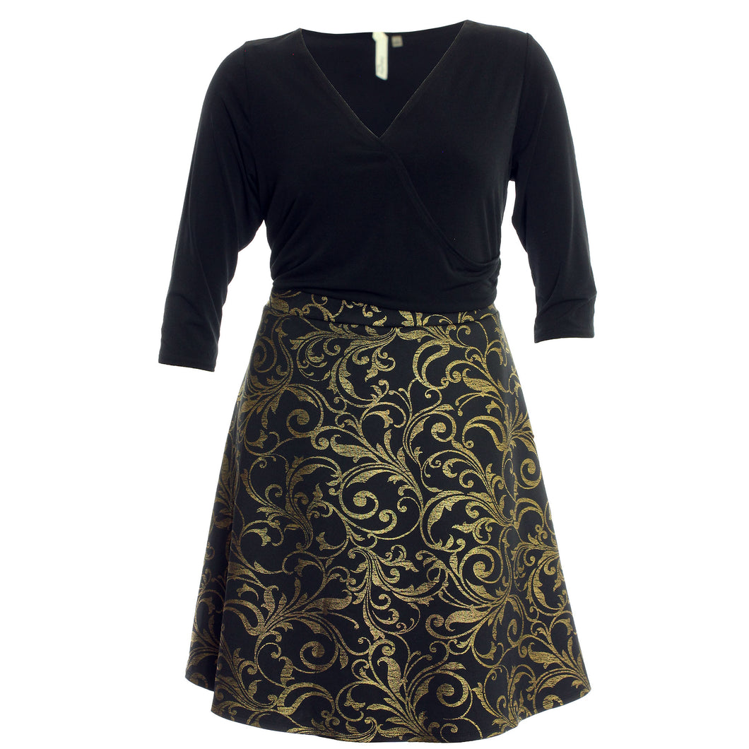 NY Collection Black/Gold Brocade 3/4 Sleeve Dress
