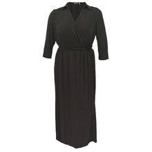 NY Collection Brown or Black 3/4 Sleeve Surplice Belted Maxi Dress Plus Size