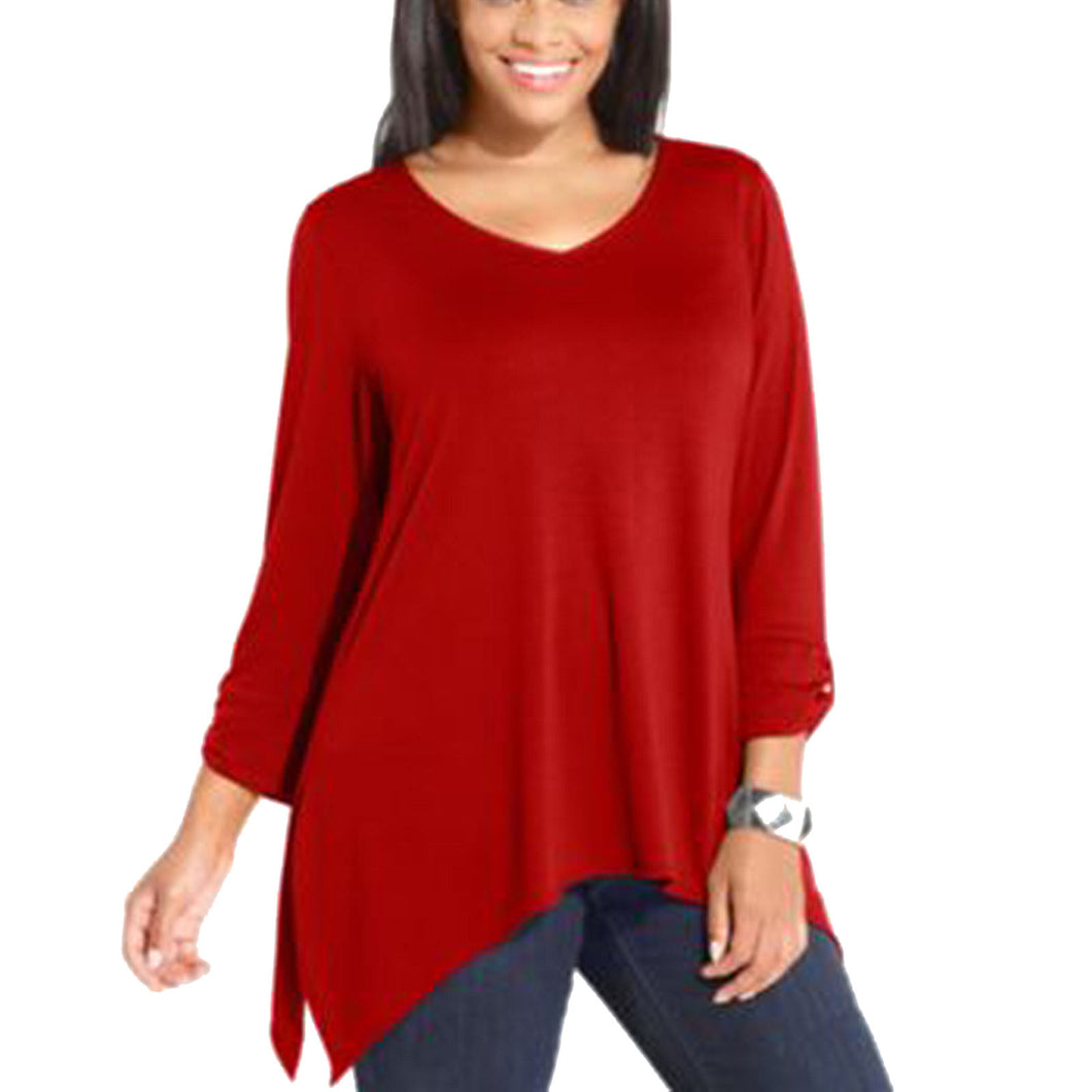 NY Collection Red 3/4 Sleeve Sharkbite Hem Knit Top Plus SIze