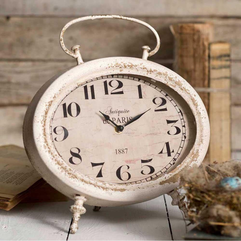 Distressed, Bone Colored, Oval, Tabletop Clock.