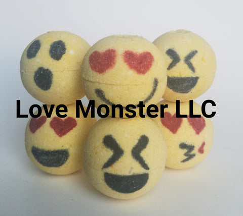 6 mini emoji bath bombs
