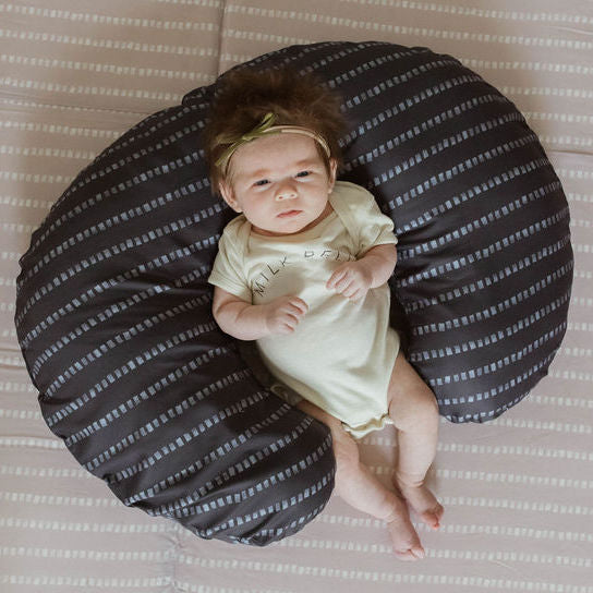 Stripe in Dark Grey | Nursing Pillow Cover - Toki Mats