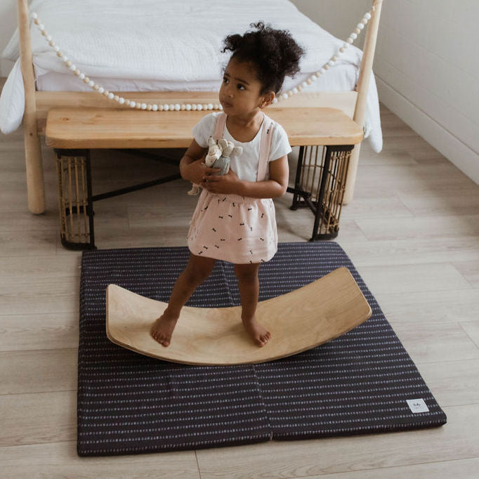 Stripe in Dark Grey | Standard | Padded Play Mat