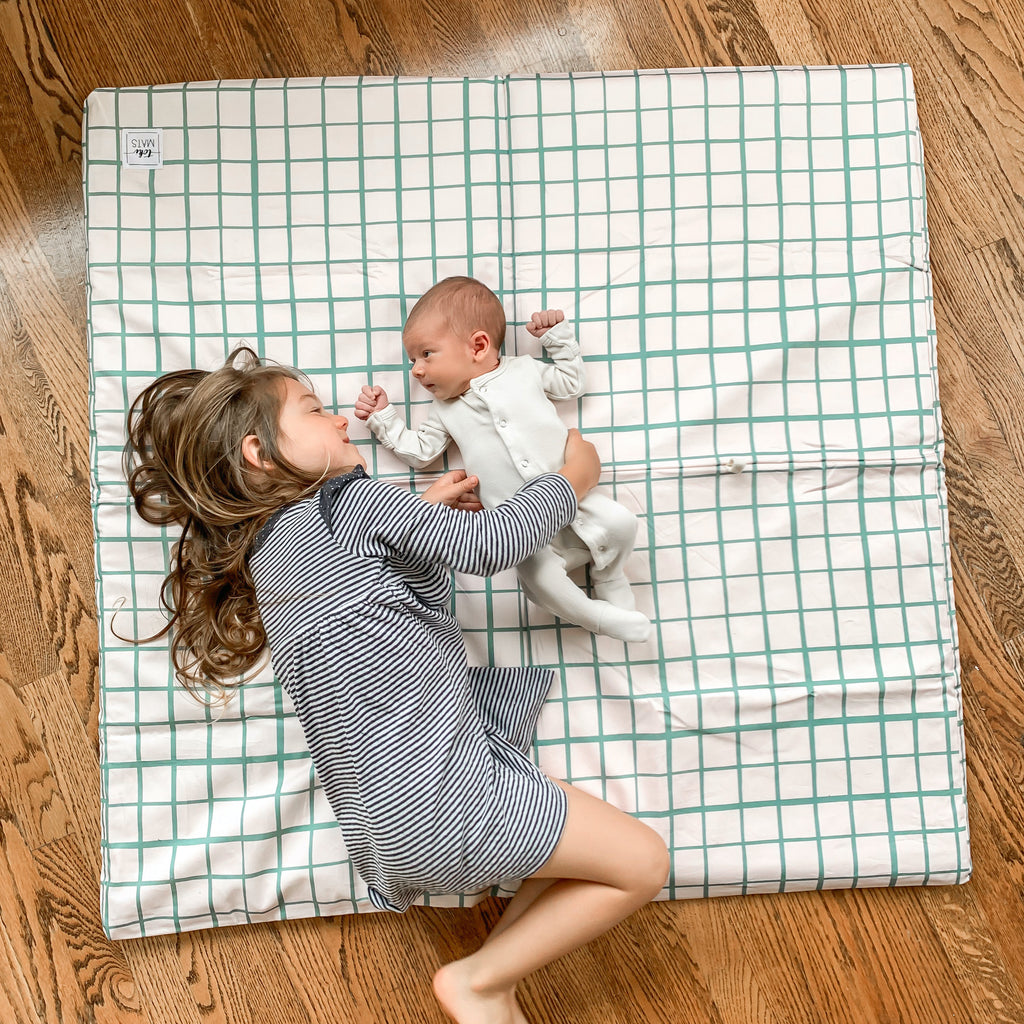 Grid in Teal | Standard | Padded Play Mat - Toki Mats