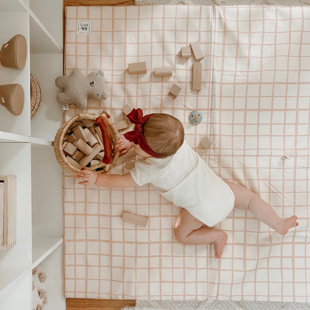 Grid in Peach | Standard | Padded Play Mat