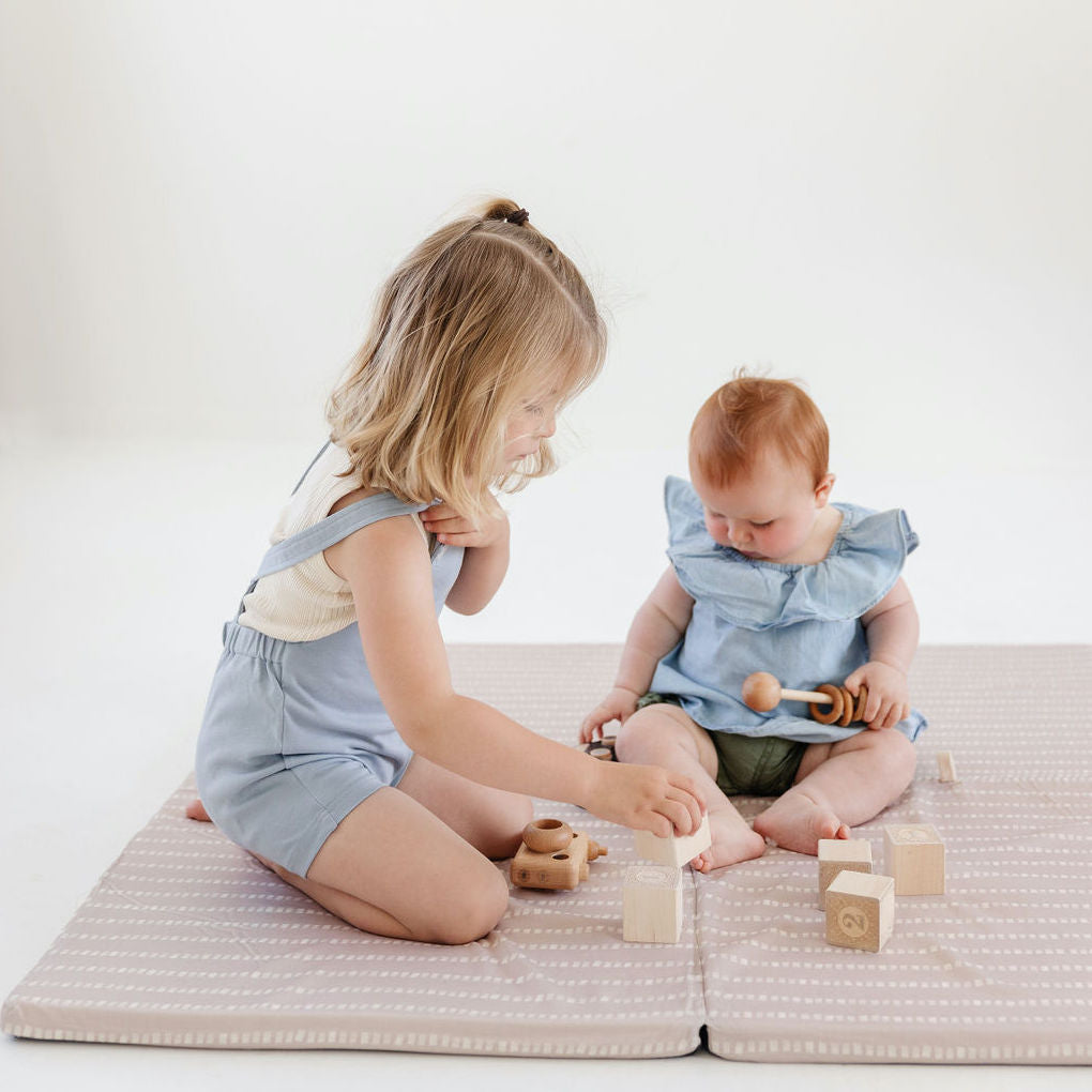 Stripe in Light Grey / Lavender | Standard | Padded Play Mat - Toki Mats