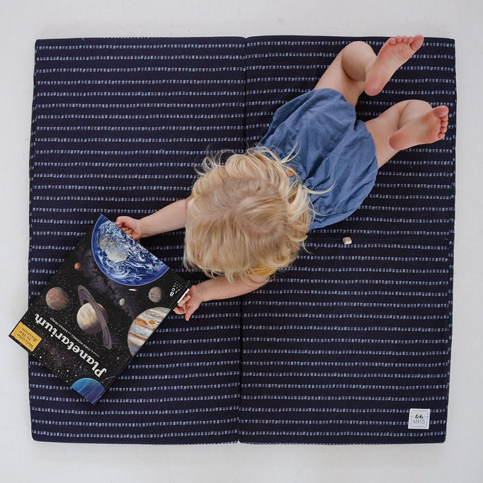 Stripe in Dark Grey | Standard | Padded Play Mat - Toki Mats