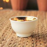 Handmade Korean Baekja Teacup with a Golden Stripe - Flower - Daurim Tea & Teaware