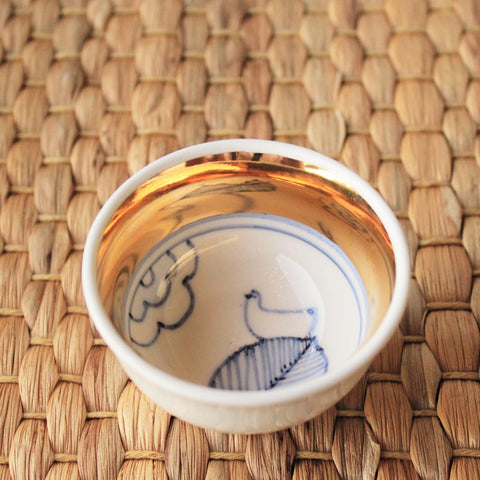 Handmade Korean Baekja Teacup with a Golden Stripe - Leaf - Daurim Tea & Teaware