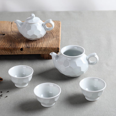 Handmade Korean Carved Baekja White Porcelain Ceramic Tea Set for 3 | Daurim Tea & Teaware