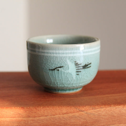 Handmade Korean Celadon Teacup - Clouds and Cranes | Daurim Tea & Teaware, Ceramics, Pottery