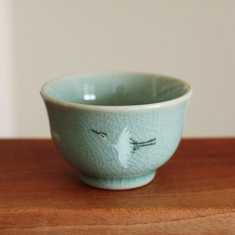 Handmade Korean Celadon Teacup - Clouds and Cranes | Daurim Tea & Teaware, Ceramics, Pottery, Tea Set