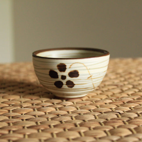 Handmade Korean Chulhwa (Iron Painting) Buncheong Teacup with Flower