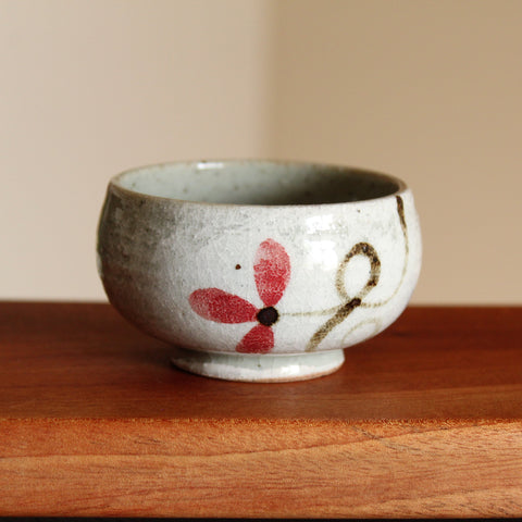 Hong Shim - Handmade Korean Iron-Painted Buncheong Teacup with Red Flower | Daurim Tea & Teaware, Ceramic, Poterry