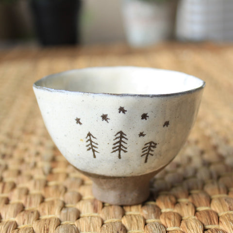 Handmade Korean Dumbung Boonchung (Buncheong) Teacup - Starry Night