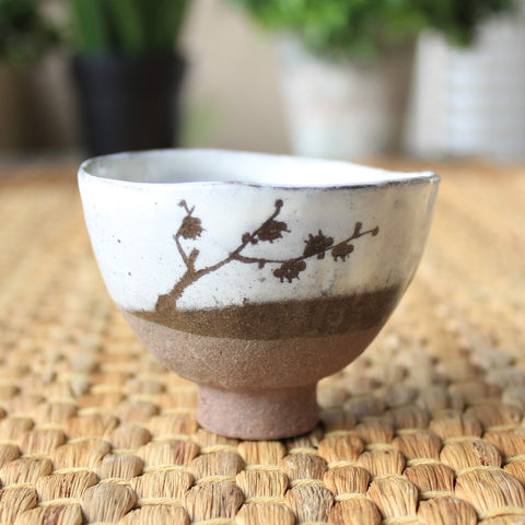 Handmade Korean Dumbung Boonchung (Buncheong) Teacup - Plum Tree - Daurim Tea & Teaware
