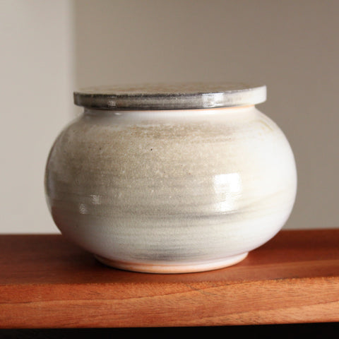 Wood-fired Korean Baekja Tea Caddy (Canister) Jar for Storing/Aging Teas