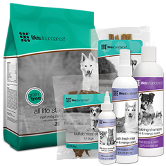 Life's Abundance pet foods for dogs and cats, pet treats and pet care products.