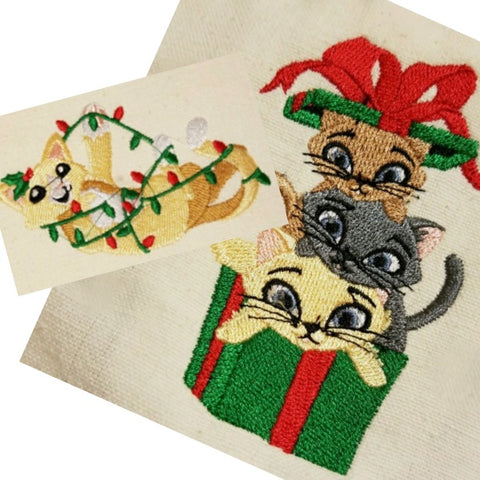 Christmas cat themed hand and kitchen towels embroidered.