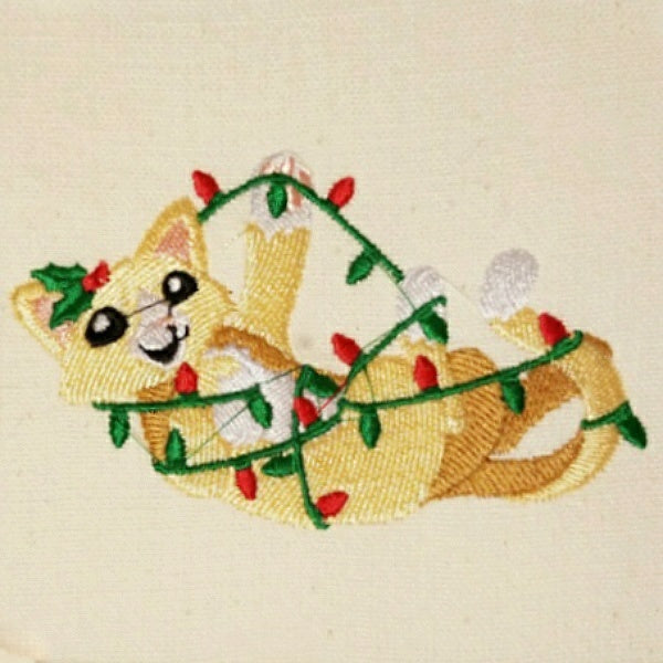 Cute Christmas wrapped cat embroidered towel.