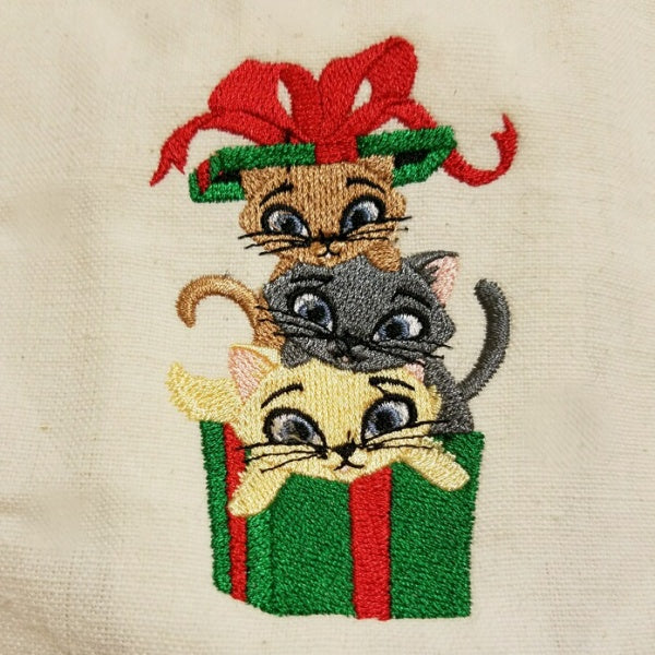 Christmas cat lovers towel with cats in Christmas gift box.
