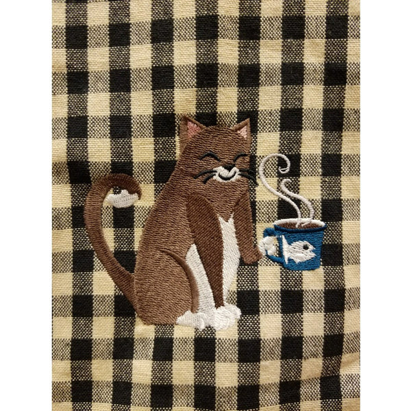 Cat with coffee cup embroidered kitchen towel