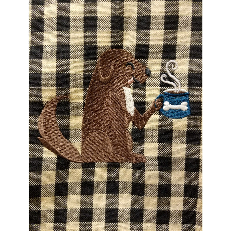 ... Dog With Coffee Cup Embroidered Kitchen Towel ...