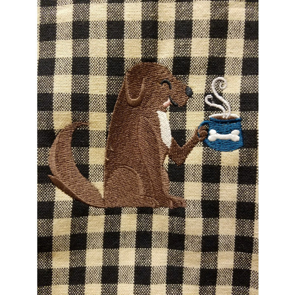 Dog with coffee cup embroidered kitchen towel