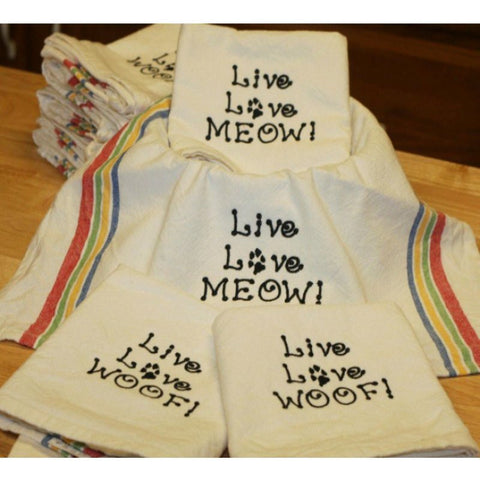 Pet lovers embroidered dish towels in dog and cat themes.