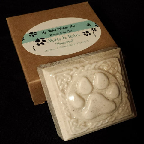 Hand crafted unscented paw print dog soap.
